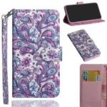 Pattern Printing Light Spot Decor Wallet Magnetic Stand Leather Flip Mobile Phone Case for Samsung Galaxy J4 Plus – Paisley Flower