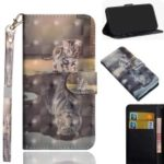 [Light Spot Decor] Pattern Leather Wallet Cover for Samsung Galaxy J6 Plus / J6 Prime – Cat and Reflection in Water