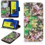 Light Spot Decor Pattern Printing Wallet Stand Leather Flip Case for Samsung Galaxy J6 (2018) – Butterfly and Flower