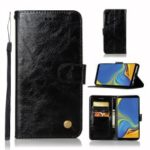 Premium Vintage PU Leather Wallet Case with Stand for Samsung Galaxy A9 (2018)/A9 Star Pro/A9s – Black
