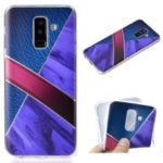 Splicing Marble Pattern and Leather Texture TPU Phone Case for Samsung Galaxy A6+ (2018) – Dark Blue