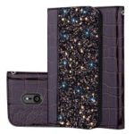 Crocodile Texture Glittery Sequins Splicing PU Leather Auto-absorbed Phone Casing for Sony Xperia XZ3 – Black