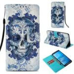 Pattern Printing Wallet Stand Leather Case with Strap for Sony Xperia XZ3 – Cool Skull