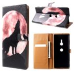 Pattern Printing PU Leather Flip Case for Sony Xperia XZ3 – Wolf Howling at the Moon