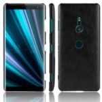 Litchi Texture PU Leather Coated Plastic Mobile Case for Sony Xperia XZ3 – Black