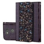 Case for Sony Xperia XA2 Crocodile Texture Glittery Sequins Splicing PU Leather Stand Case – Black