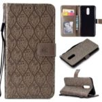 Imprint Leaf Leather Wallet Phone Case for LG Stylo 4 – Grey