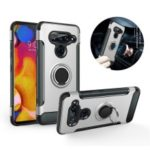 360 Degree Rotating Kickstand Carbon Fiber Texture Hybrid Case for LG V40 ThinQ – Silver