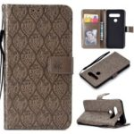 Imprint Leaf Leather Wallet Case for LG V40 ThinQ – Grey