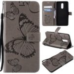 Imprinted Butterfly PU Leather Case for LG Stylo 4 – Grey