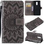 Imprint Sunflower PU Leather Wallet Magnetic Stand Cover for LG Stylo 4 – Grey