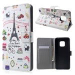 Pattern Printing PU Leather Magnetic Wallet Stand Case for Huawei Mate 20 Pro – Eiffel Tower