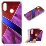 Marble Pattern and Leather Texture Splicing TPU Case for Huawei nova 3i / P Smart+ – Purple