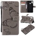 Imprinted Butterfly Wallet Magnetic Stand Leather Cell Phone Case for Huawei P Smart+ / nova 3i – Grey