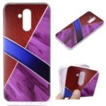 Marble Pattern and Leather Texture Splicing TPU Case for Huawei Mate 20 Lite / Maimang 7 – Purple