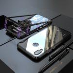 Magnetic Attraction Metal Frame + Tempered Glass Back Case for Huawei P Smart+ / nova 3i – Black