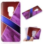Splicing Marble Pattern and Leather Texture TPU Case for Huawei Mate 20 – Purple
