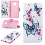 For Huawei Mate 20 Pro Patterned Wallet Magnetic Leather Protection Case – Butterflies and Flowers