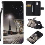 Patterned Wallet Stand Leather Case for Huawei Mate 20 Lite / Maimang 7 – Night Street Scene