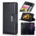 PU Leather Case for Huawei Y9 (2019) / Enjoy 9 Plus, 3 Card Slots All Round Protection Leather Case – Black