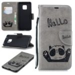 Imprint Hello Panda Wallet Stand Leather Mobile Case for Huawei Mate 20 Pro – Grey