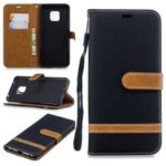 Two-tone Jean Cloth PU Leather Flip Case for Huawei Mate 20 Pro – Black