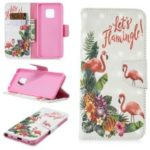 Light Spot Decor Pattern Printing Wallet Stand Leather Flip Case for Huawei Mate 20 Pro – Flamingo and Flower