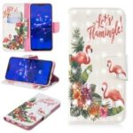 Light Spot Decor Pattern Printing Wallet Stand Leather Flip Case for Huawei Mate 20 Lite / Maimang 7 – Flamingo and Flower