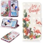 Light Spot Decor Pattern Printing Wallet Stand Leather Flip Casing for Huawei nova 3i / P Smart Plus – Flamingo and Flower