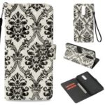 Patterned Light Spot Decor Leather Magnetic Stand Phone Accessory Cover for Huawei Mate 10 Lite / nova 2i / Maimang 6 / Honor 9i (India) – Damask Flower