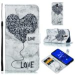 Imprinted Lover Heart Marble Pattern PU Leather Case for Huawei Mate 20 Lite / Maimang 7 – Black