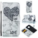 Imprinted Lover Heart Marble Pattern [Stand Wallet] Leather Case for Huawei Mate 20 Pro – Black