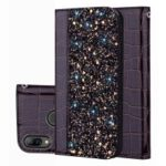 Crocodile Texture Glittery Sequins Splicing PU Leather Case for Huawei nova 3i / P Smart+ – Black