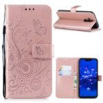 Imprinted Butterfly Flower PU Leather Protection Phone Case for Huawei Mate 20 Lite / Maimang 7 – Rose Gold
