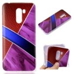 Splicing Marble Pattern and Leather Texture TPU Case for Xiaomi Pocophone F1 / Poco F1 in India – Purple