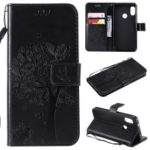Imprint Cat and Tree PU Leather Wallet Case for Xiaomi Mi A2 Lite / Redmi 6 Pro (China) – Black