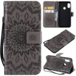 Imprint Sunflower PU Leather Wallet Magnetic Stand Case for Xiaomi Mi A2 Lite / Redmi 6 Pro – Grey