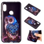 Pattern Printing Embossed TPU Case for Xiaomi Redmi Note 6 Pro – Blue Owl