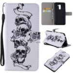 Pattern Printing Wallet Stand Magnetic Leather Flip Case for Xiaomi Pocophone F1 / Poco F1 (India) – Skull and Flowers
