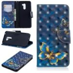 Pattern Printing PU Leather Cover Shell for Xiaomi Pocophone F1 / Poco F1 (India) – Gold and Blue Butterfly