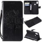Imprint Cat and Tree PU Leather Flip Case for Xiaomi Redmi Note 6 Pro – Black