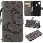 Imprint Butterfly Leather Wallet Case for Xiaomi Redmi Note 6 Pro – Grey