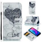 For Xiaomi Mi A2 Lite / Redmi 6 Pro Imprinted Lover Heart Marble Pattern PU Leather Flip Case – Black
