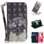 Patterned Leather Case for Xiaomi Redmi 6A [Wallet] [Stand] [Light Spot Decor] – Grey Cat