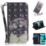 Light Spot Decor Patterned Wallet Stand PU Leather Phone Case for Xiaomi Mi A2 Lite / Redmi 6 Pro (China) – Grey Cat