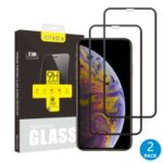 2Pcs/Set ITIETIE Silk Printing 2.5D 9H Tempered Glass Film Anti-explosion Full Screen Protector for iPhone XS Max 6.5 inch – Black