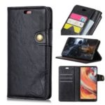 S-shape Crazy Horse Texture Leather Flip Case for OnePlus 6T – Black