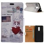 Pattern Printing PU Leather Wallet Stand Folio Mobile Case for OnePlus 6T – American Flag and Cat Holding Heart