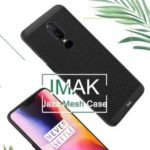 IMAK Jazz Mesh Hard PC Case + Screen Protector Film for OnePlus 6 – Black