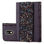 Crocodile Texture Glittery Sequins Splicing PU Leather Stand Case for Nokia 3.1 – Black